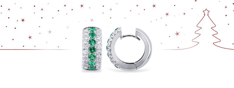 Natale-2018-NCER2681BBS-Orecchini-a-cerchio-in-oro-bianco-18k-con-Smeraldi-e-diamanti-gioielli-di-valenza