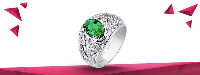 Anello-fascia-in-oro-bianco-18k con-diamanti-smeraldo-ANN2765BBS-gioielli-di-valenza