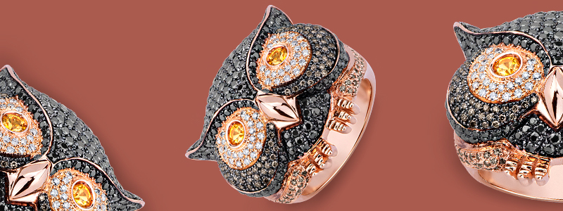 POAN2381RMN-Anello-Gufo-in-oro-rosa-18k-con-Diamanti-neri-bianchi-e-brown-gioielli-di-valenza-collezione-wild